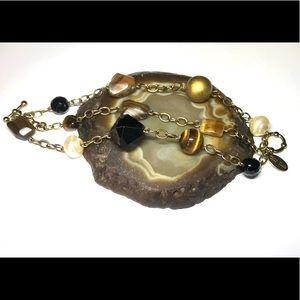 🎁 WHBM Three Strand Stone & Bread Bracelet